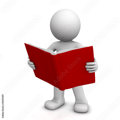3D character reading book