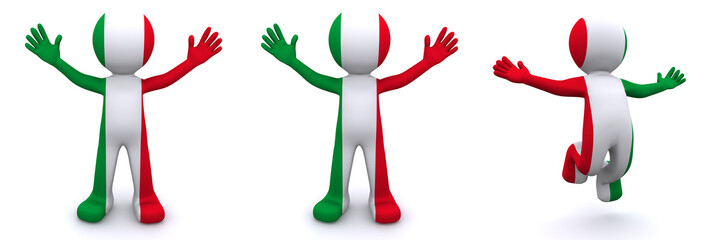 3d character textured with flag of Italy