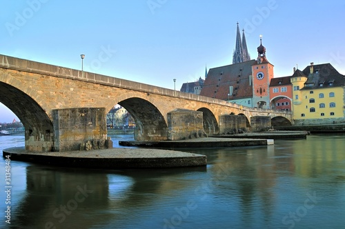 Old stone bridge at Regensburg, Germany