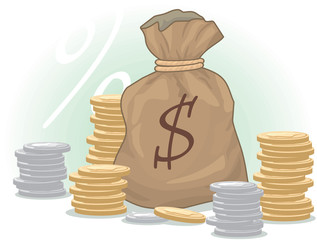 Moneybag with Dollar Sign and Coins