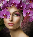 Fototapety Beautiful Spring Girl With Orchid flowers