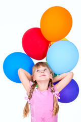 smiling girl holding balloons branch isolated on white