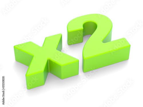 "3D an inscription ""x2"""