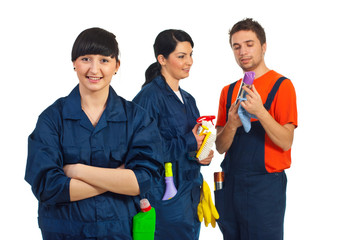 Happy cleaning service team