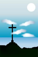 Paisaje con una cruz