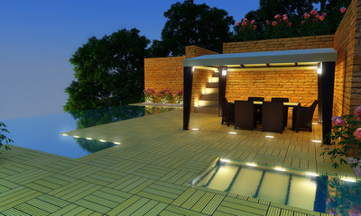 Luxury Villa garden - Night time