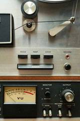 Close up of Old Analog Reel to Reel Tape Deck