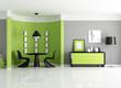 modern green dining room