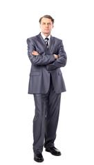 full-length portrait of stylish businessman. isolated on