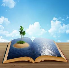 magic book with a island