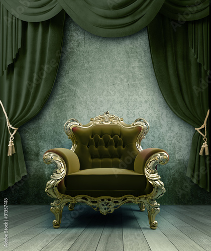 interior with a classic baroque chair