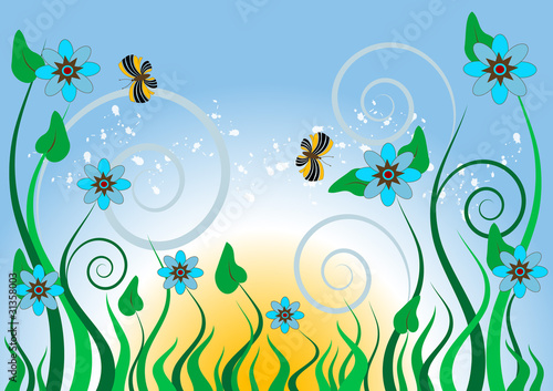 Blue flowers and butterflies.Background.Wallpaper.