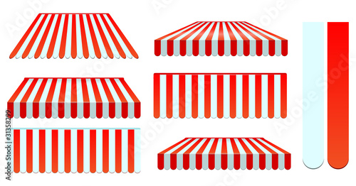red awnings set isolated on white