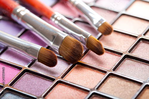 Eye shadows palette and professional brushes