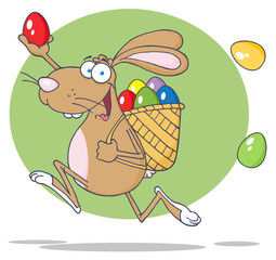 Happy Brown Easter Rabbit Running With A Basket And Egg