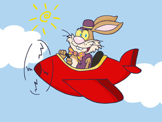 Easter Rabbit Flying With Plane In Sky