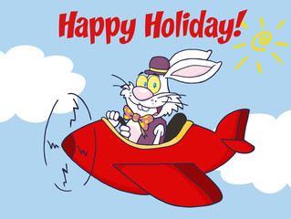 Happy Holiday From White Easter Rabbit Flying With Plane