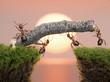 team of ants constructing bridge over water on sunrise
