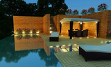 Fototapety Luxury Villa garden - Night time