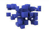 Random array of blue cubes