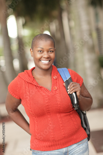 Mature black student smiling