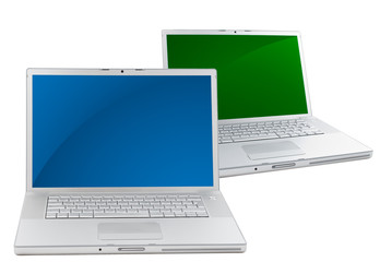 Two Laptops isolated on white