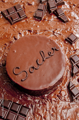 still life of Sacher cake
