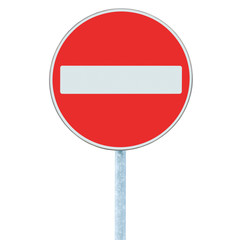 No Entry Sign, road traffic warning on pole, isolated