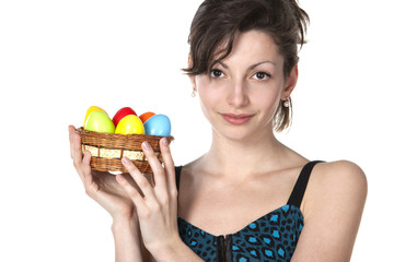 Portrait of youngl female holding basket with Easter eggs