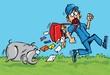 Cartoon postman running away from a dog