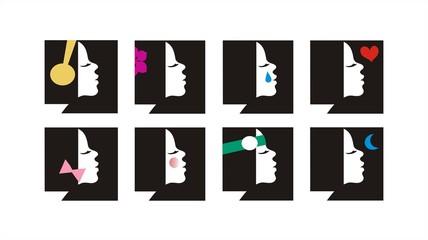 Female set of icons