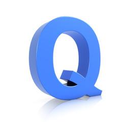 3d Blue Letter Q