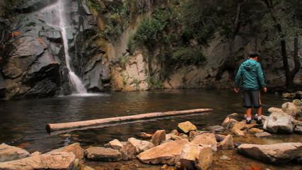 Waterfall 02 - Boy walking on rocks
