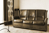 leather sofa and table