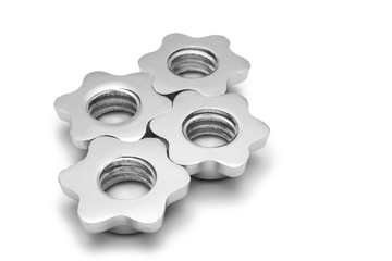 Screws from the dumbbells like the cogwheel isolated
