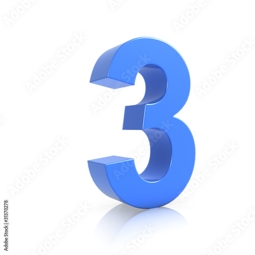 Illustration: 3d Blue Number 3