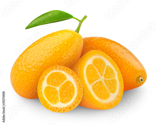 Fresh kumquat isolated on white