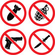 "Forbidding  Vector Signs ""No weapons"""