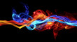 canvas print picture - Red and blue smoke