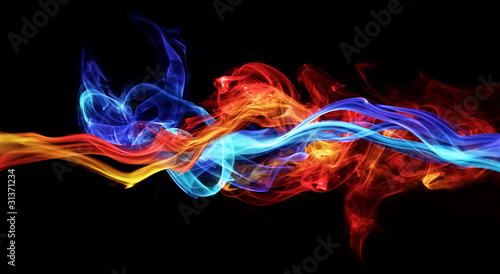 canvas print picture Red and blue smoke