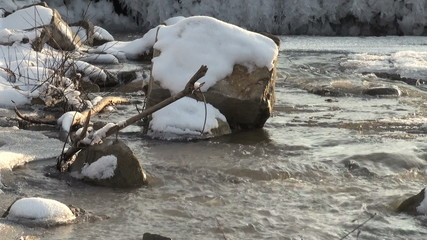 river water and ice in winter