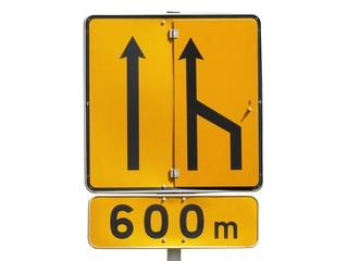 Panneau temporaire de réduction du nombre de voies