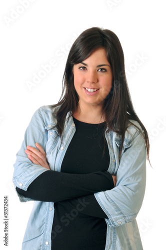 Young brown woman smiling on white background