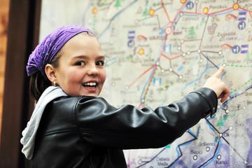 girl with city map navigation panel