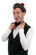 Expressive man in Scottish costume.