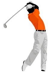 Vector illustration of a golfer