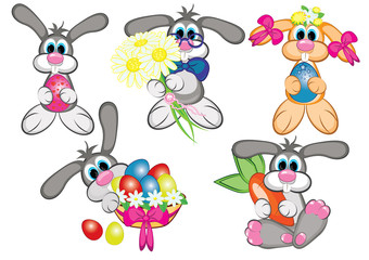 Bunnys With Easter Eggs