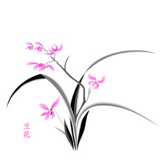 Orchid painting in japanese watercolour style