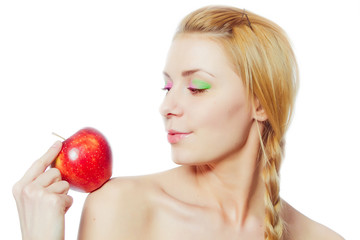 portrait of  young woman with red apple isolated on white