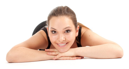 fitness woman resting after stretching exercise, series